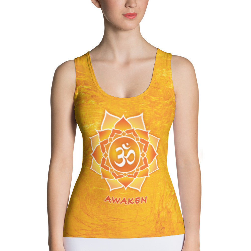 yoga tank top with lotus, om sign, peace by Sushila Oliphant