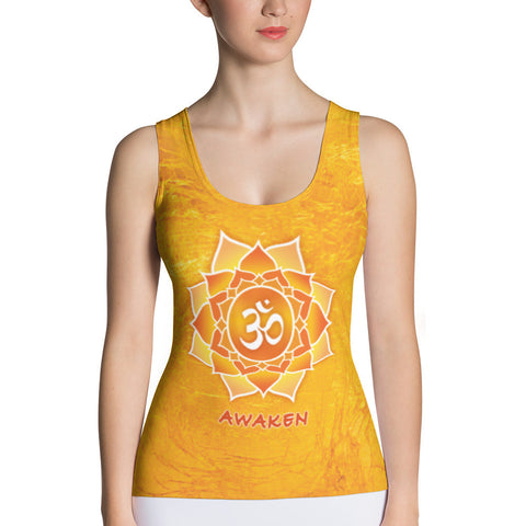 yoga tank top with lotus, om sign, peace