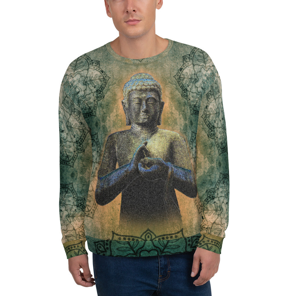 Buddha men's yoga sweatshirt by Sushila Oliphant for Apparel for the Spirit