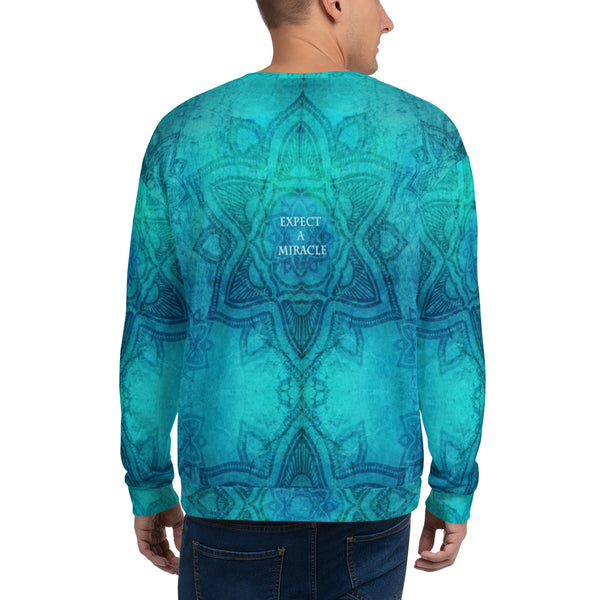 Cosmic Om sweatshirt for yoga by Sushila Oliphant for Apparel for the Spirit.