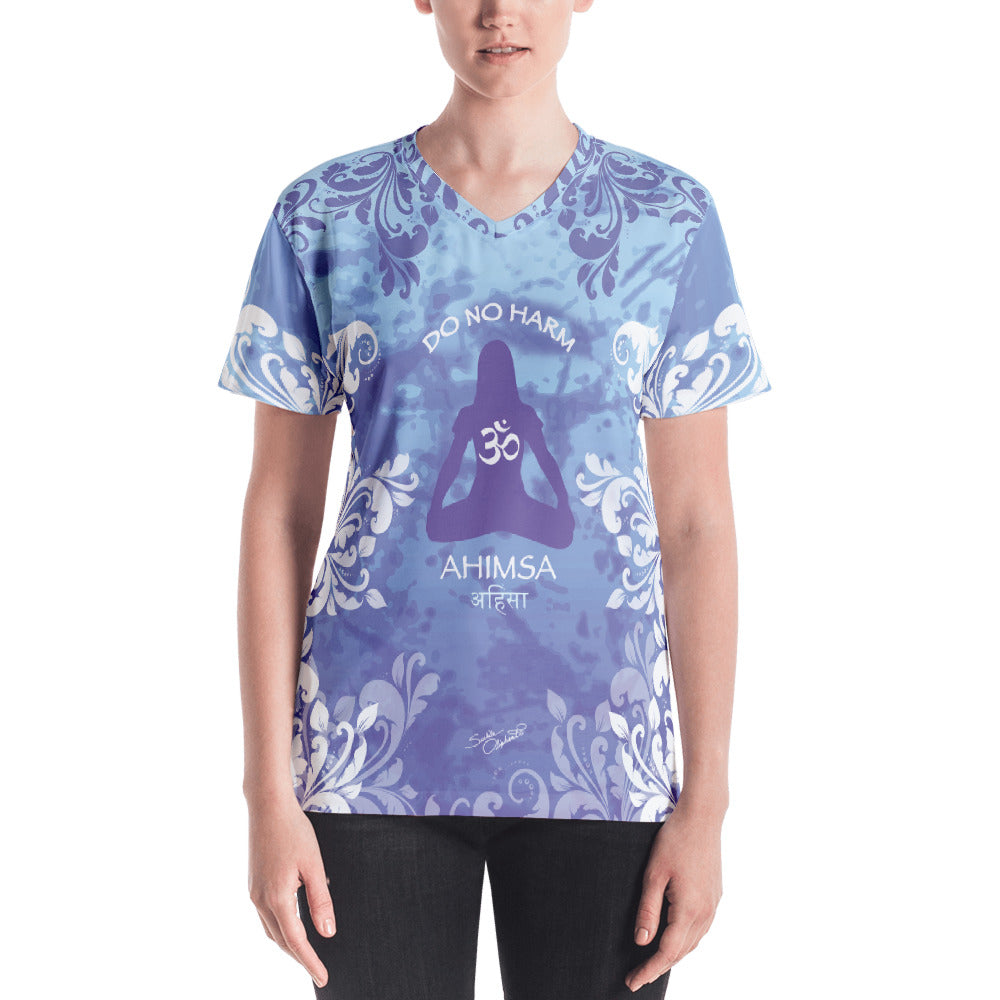 Spiritual yoga v-neck t-shirt with yogi meditating, om sign and peace sign by Sushila Oiphant.