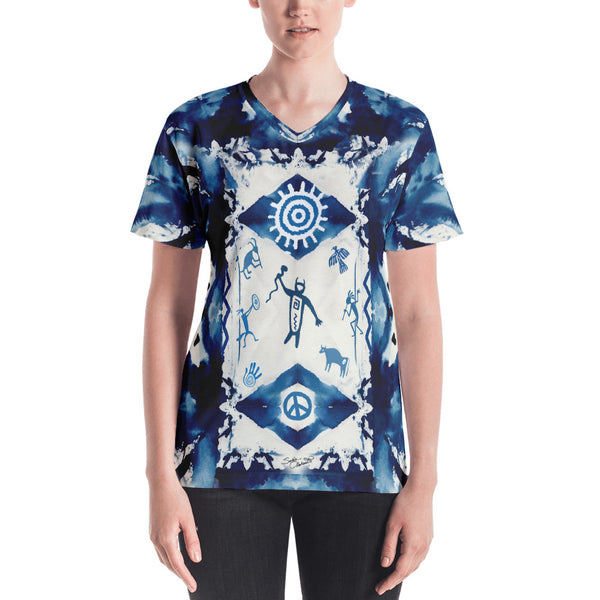 Native American tribal and spiritual v-neck t-shirt by Sushila Oliphant