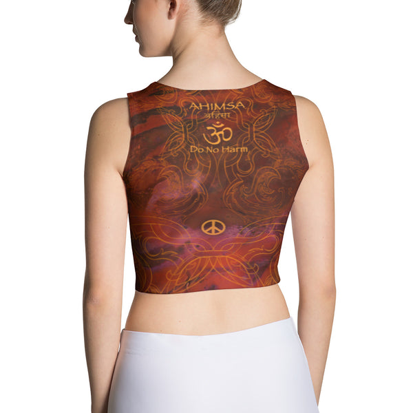 yoga crop top with lotus, om sign, peace by Sushila Oliphant