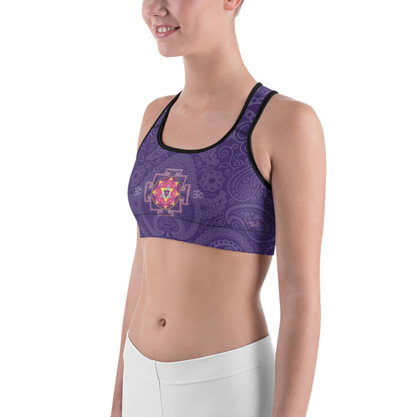 Yoga sports bra with Ganesha Yantra  by Sushila Oliphant for Apparel for the Spirit.