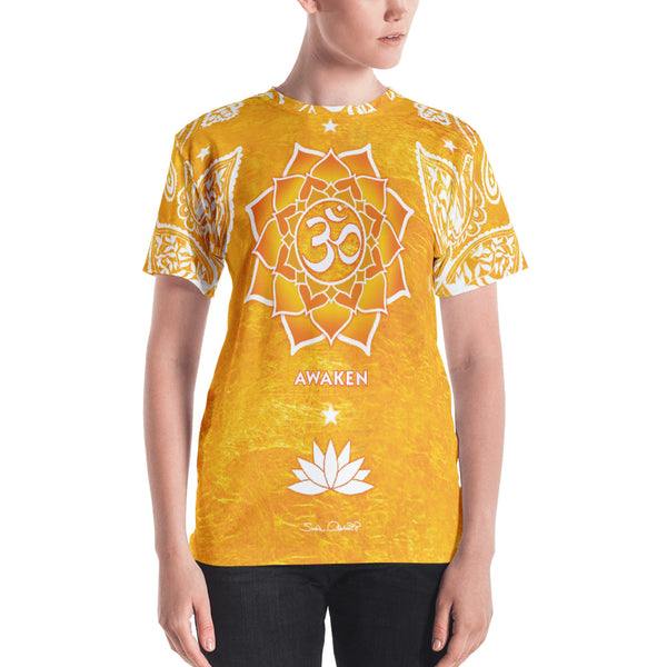 Spiritual yoga t-shirt with om signs and yantra on golden background.