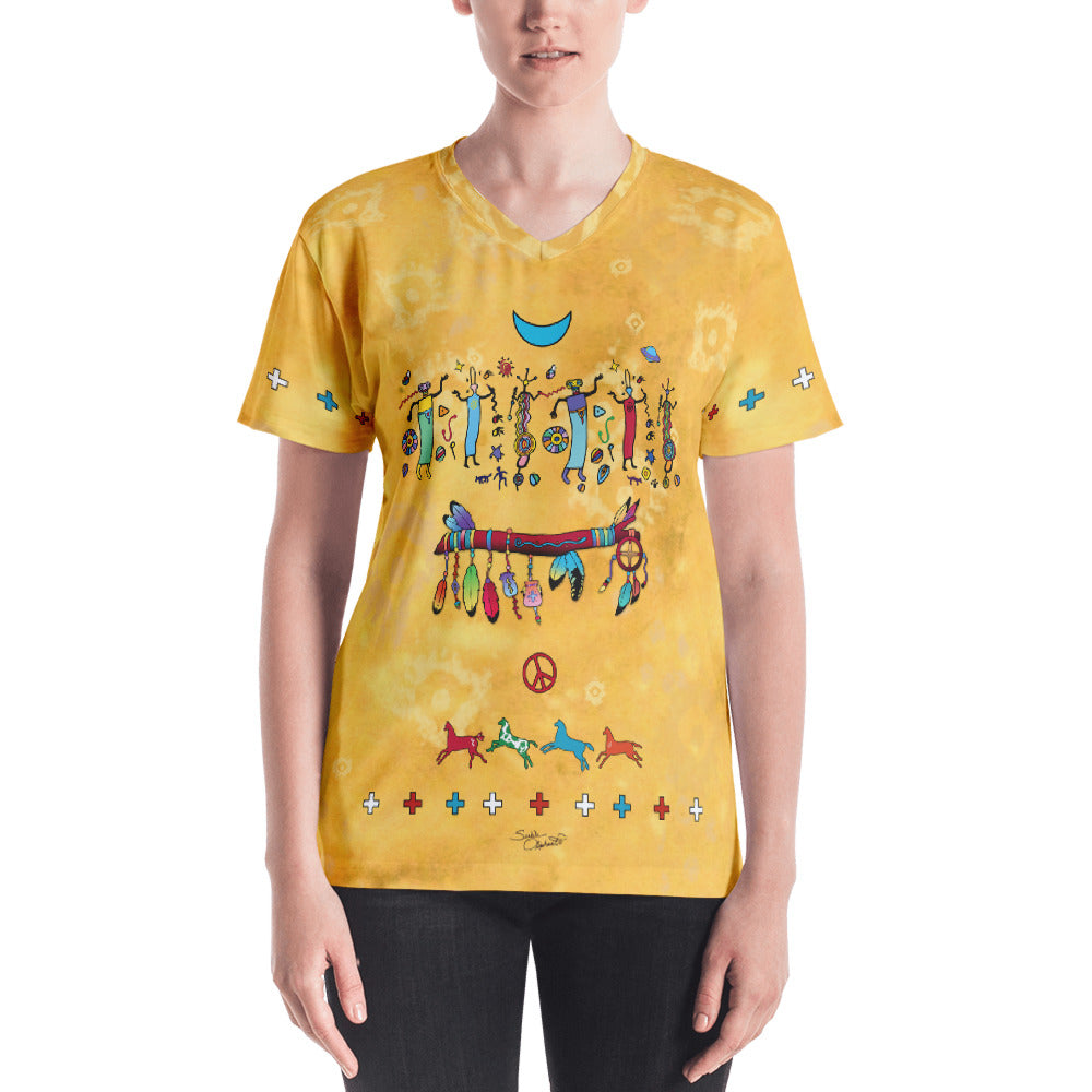 Native American spiritual v-neck t-shirt by Sushila Oliphant