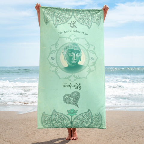 Jade Buddha Yoga Beach Towel
