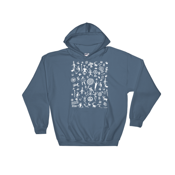 Native American Indian rock art on hoodie by Sushila Oliphant.