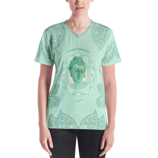 Buddha v-neck t-shirt great for yoga by Sushila Oliphant