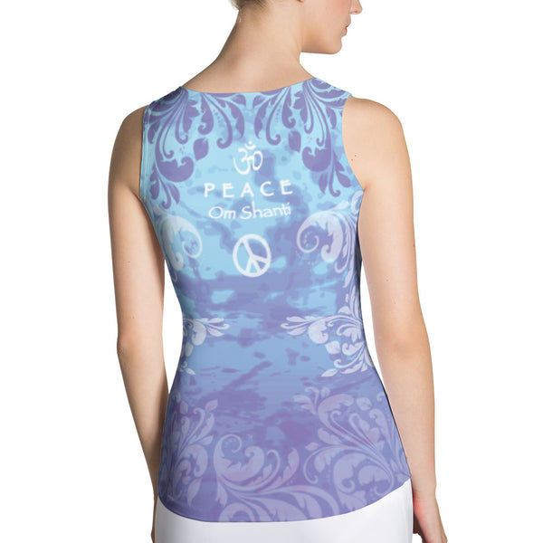 yoga tank top with om sign, peace sign by Sushila Oliphant