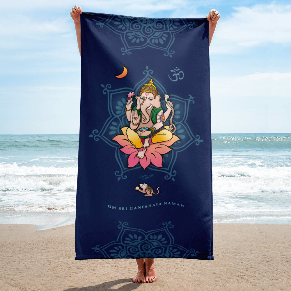 Sri Ganesha Yoga Beach Towel