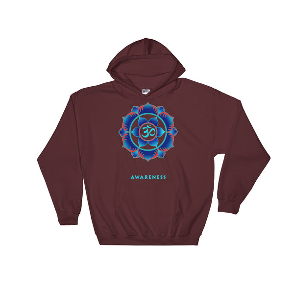 Awareness of higher consciousness with an om sign in the center of a lotus. Hoodie designed by Sushila Oliphant