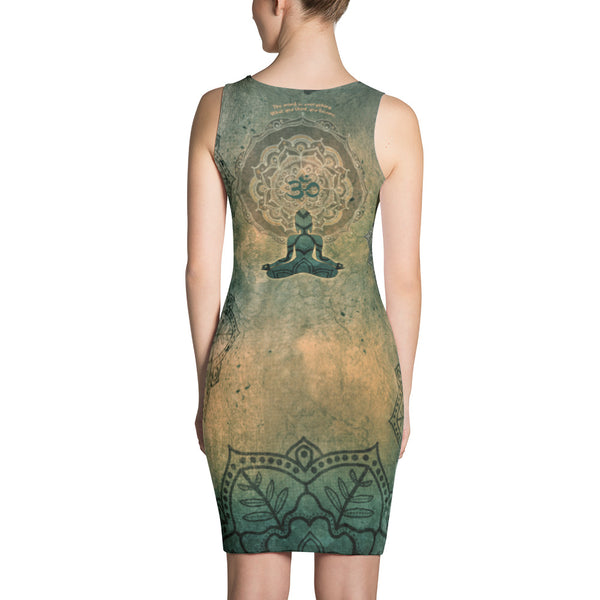 Dress with Buddha in mudra, a mandala, mantra and om sign by Sushila Oliphant