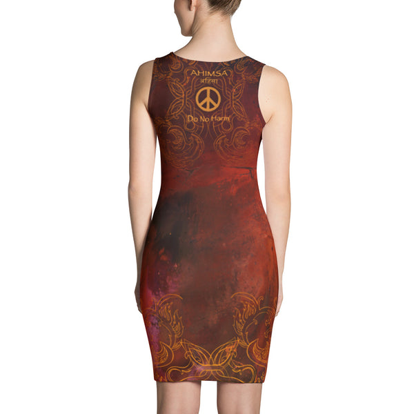 Dress with yoga theme, om and peace sign by Sushila Oliphant.