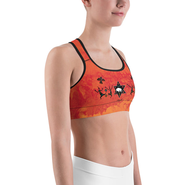 White Buffalo yoga sports bra by Sushila Oliphant for Apparel for the Spirit.