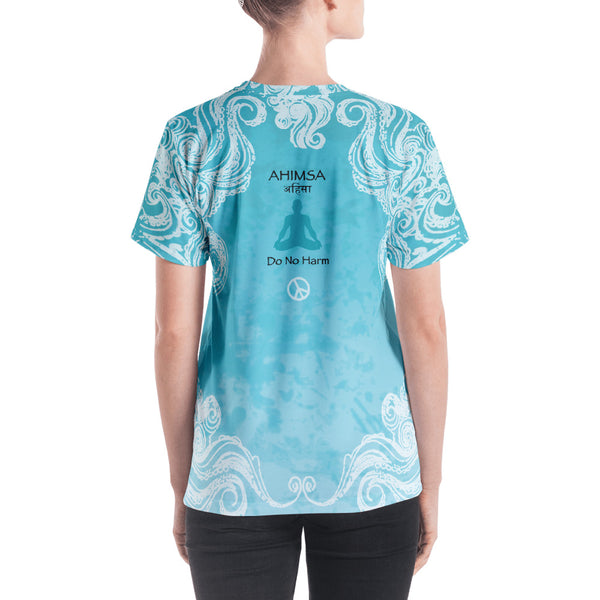 Spiritual yoga v-neck t-shirt with om sign and peace sign by Sushila Oiphant.