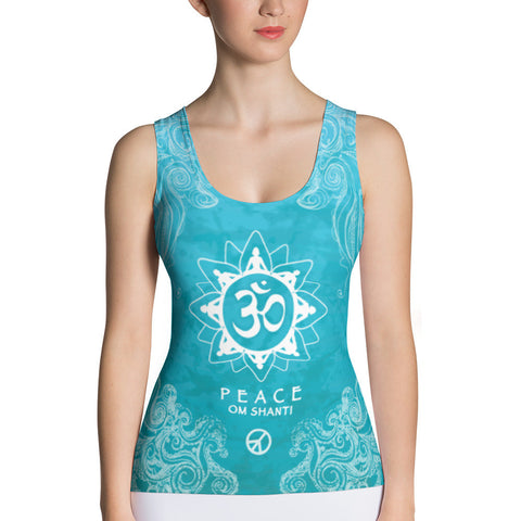 yoga tank top with om sign, peace sign