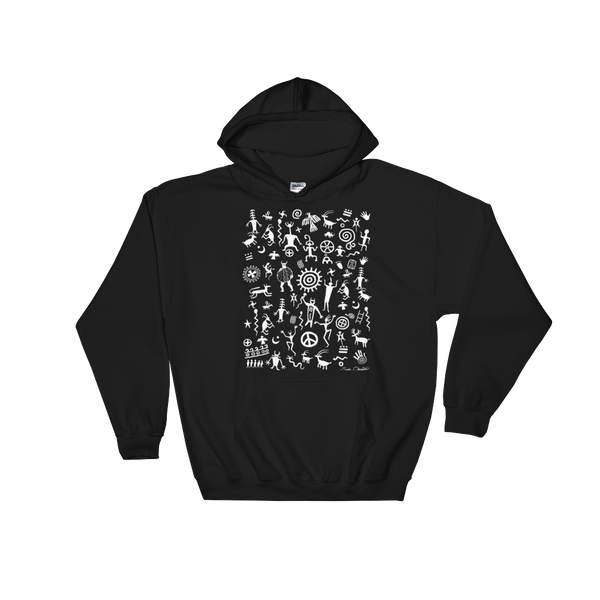 Native American Indian rock art on hoodie