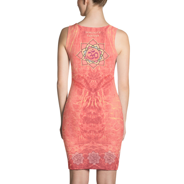 Dress with a yogi in meditation and om sign by Sushila Oliphant