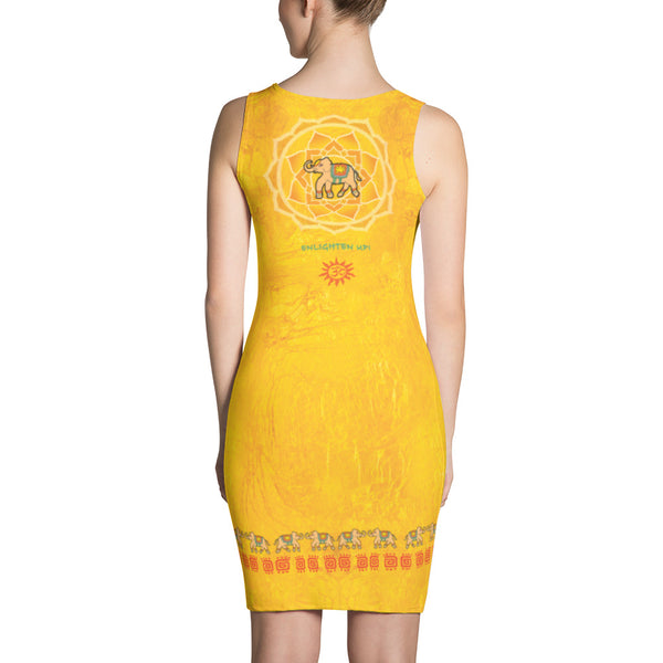 Dress with a lotus, om sign and an Indian elephant by Sushila Oliphant