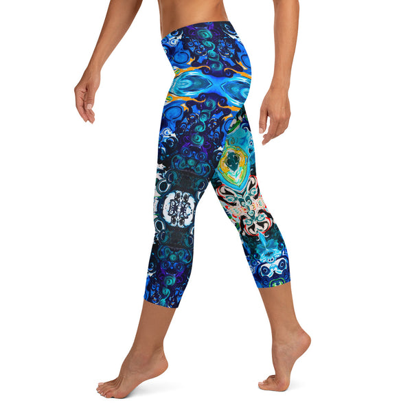 Capris leggings Cosmic Energy wear to workouts at the gym, yoga classes designer Sushila Oliphant.