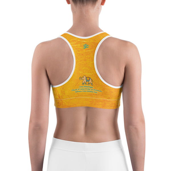 Yoga sports bra with oms and elephants for workouts by Sushila Oliphant for Apparel for the Spirit.