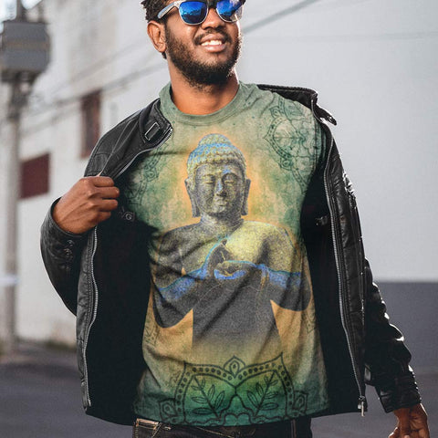 Buddha men's yoga t-shirt by Sushila Oliphant for Apparel for the Spirit