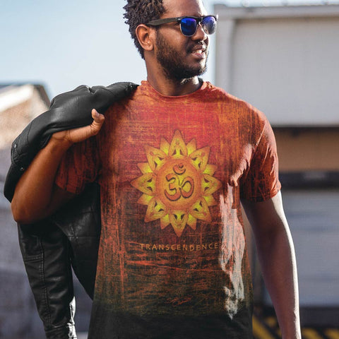 Spiritual, men's yoga t-shirt, om sign and lotus by Sushila Oliphant for Apparel for the Spirit.