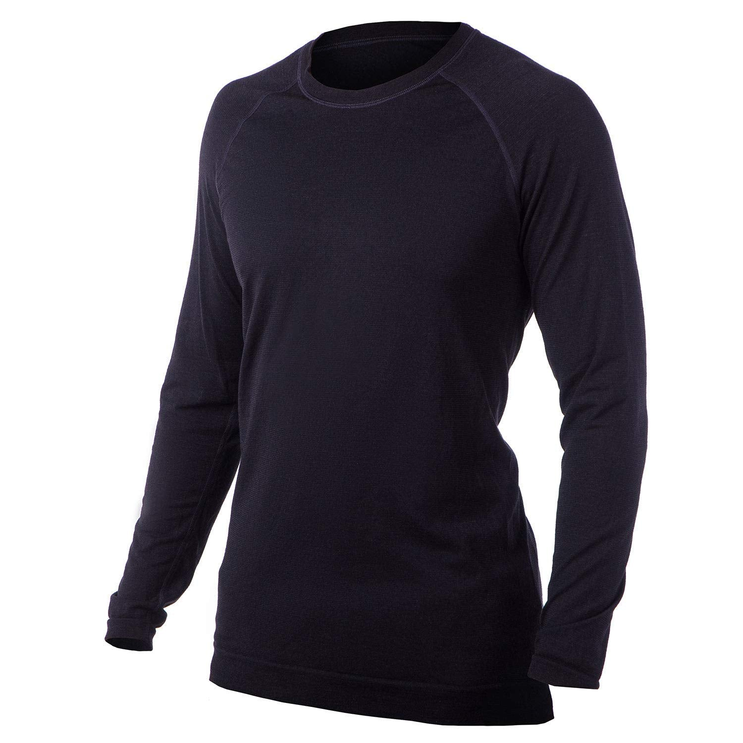 Men's Merino Wool Lightweight Base Layer Crew – Long Sleeve Shirt - Made in Italy, Ski, Winter, Warmth