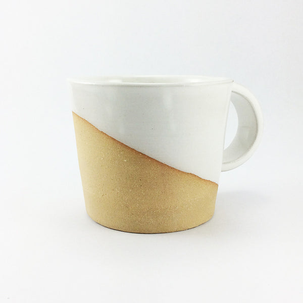 Handmade, ceramic mug, wheel thrown, white and raw clay