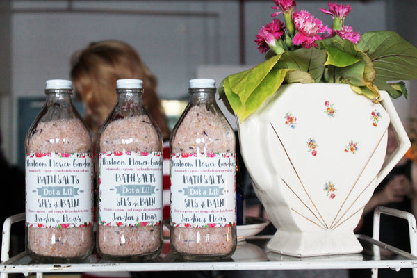 heirlloom flower bath salts - wholesale showroom