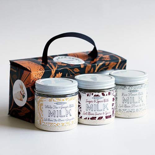 holiday milk bath trio gift set