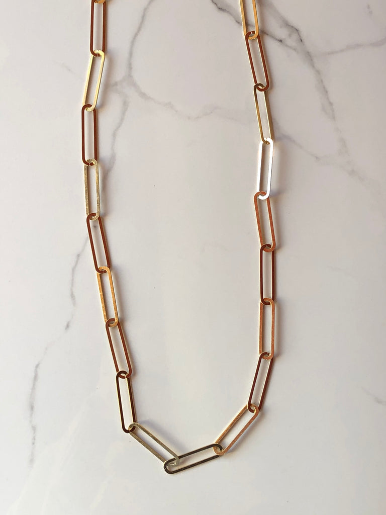 Long flat Chain Necklace