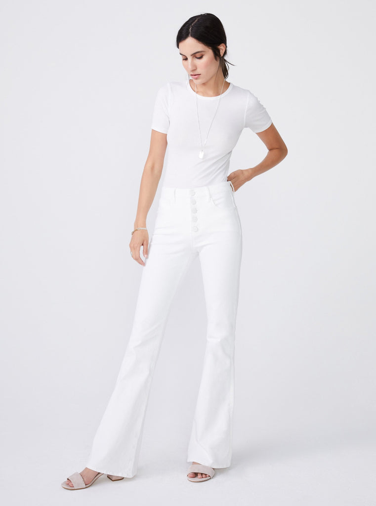Unpublished Janet High Rise Flare Blanc