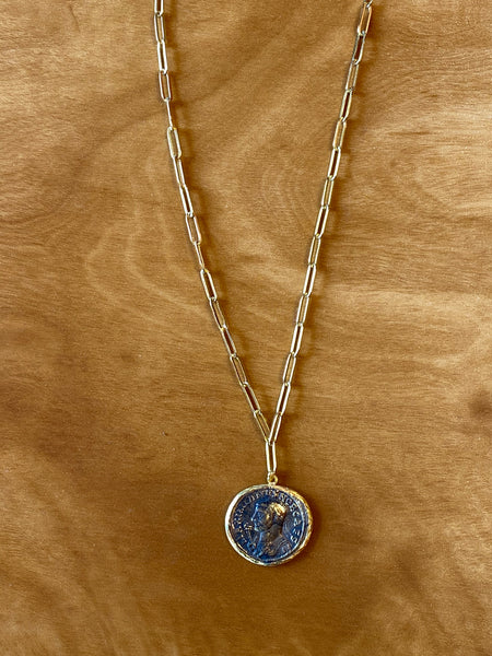 Modern Opus Steel Coin Necklace