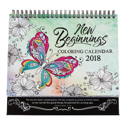 2018 Calendar Coloring New Beginnings