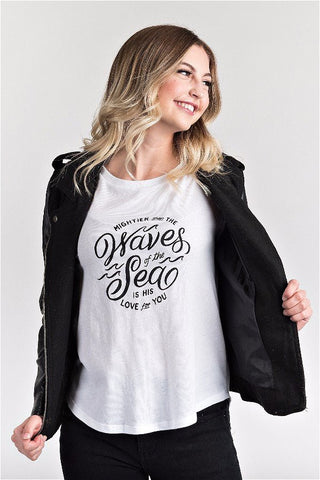 Waves Scoop Neck Tee