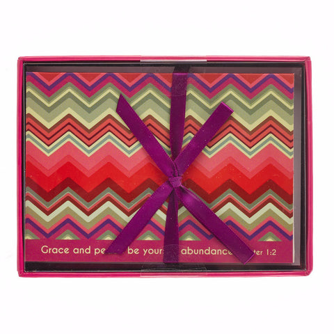 """Chevron Chic"" Boxed Cards Featuring 2 Peter 1:2"