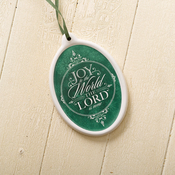 """Joy to the World"" Porcelain Disk Christmas Ornament (Green)"