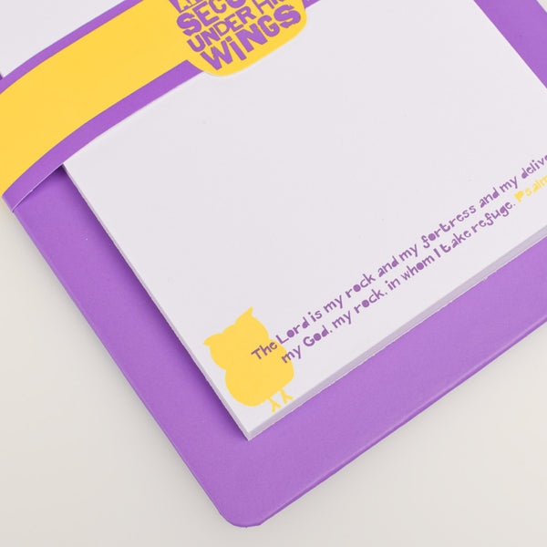 "Purple ""Wings of Joy"" Clipboard and Notepad Featuring Psalm 91:4"