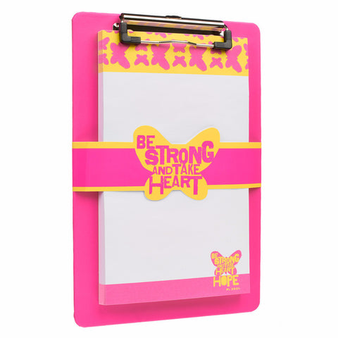 "Pink ""Wings of Joy"" Clipboard and Notepad Featuring Psalm 31:24"