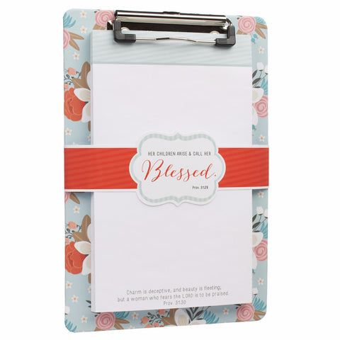 """Blessings for Mom"" Clipboard and Notepad Featuring Proverbs 31:28"