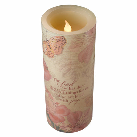 Large Flickering Flameless Wax Pillar Candle - Floral Inspirations - Psalm 126:3