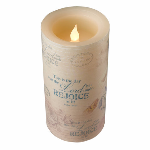 Flickering Flameless Wax Pillar - Floral Inspirations - Psalm 118:24