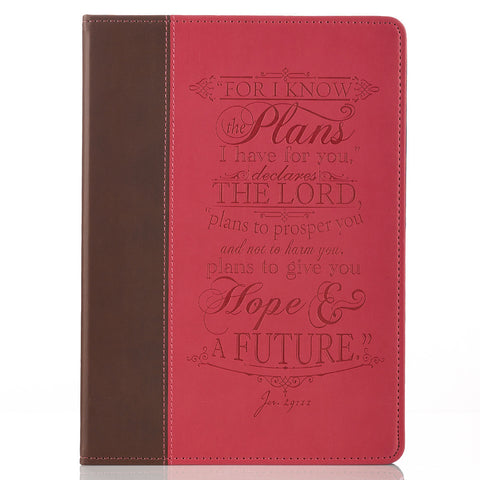 """I Know the Plans"" Pink & Brown Inspirational Tablet Cover - Jeremiah 29:11 (Fits iPad® Air)"