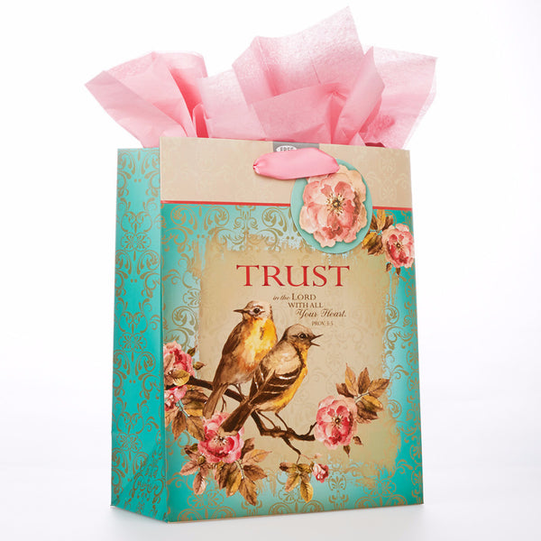 "Medium Gift Bag ""Trust"" in Teal - Proverbs 3:5"