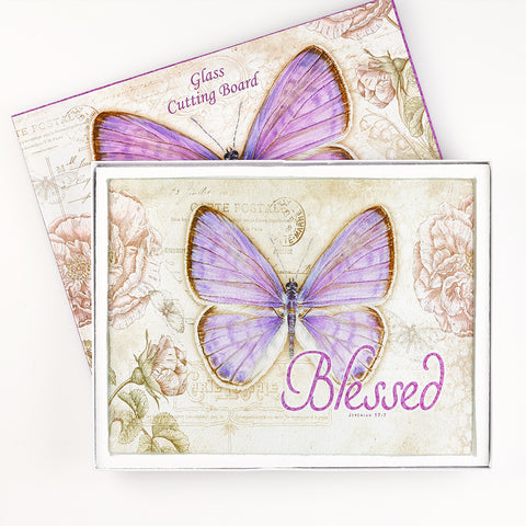 "Botanic Butterfly Blessings ""Blessed"" Glass Cutting Board / Trivet"