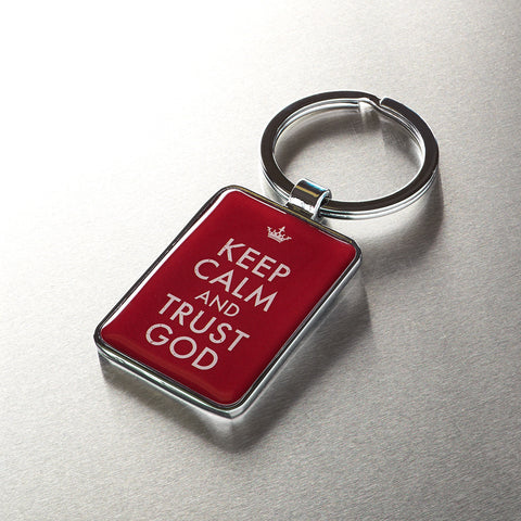 """Keep Calm and Trust God"" Metal Keyring - Pack of 3"