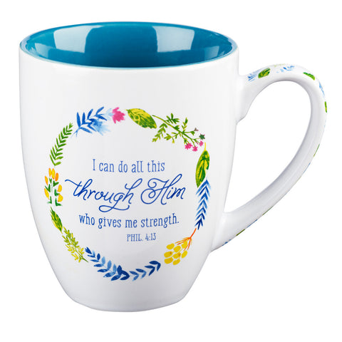 "Watercolor Collection Mug: ""I Can Do All Things Through Him"" - Philippians 4:13"