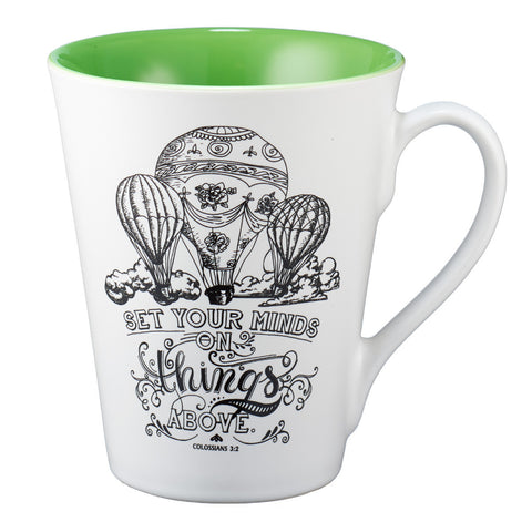 "Illustrated Scripture Mug: ""Set Your Mind On Things Above"" - Colossians 3:2"